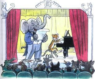 слоненок и тигренок выступают на сцене рояль