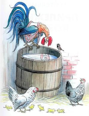 петух на бочке курицы цыплята воробей