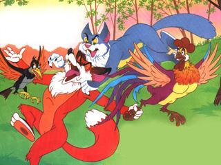 Кот бежит, дрозд летит... Догнали лису - кот дерёт, дрозд клюёт, и отняли петушка.
