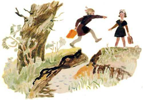 школьницы перепрыгивают ручей