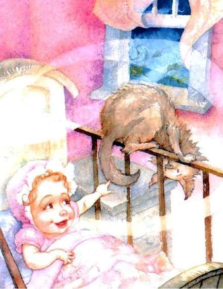 малыш в кроватке и кот