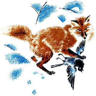 лиса поймала ворону