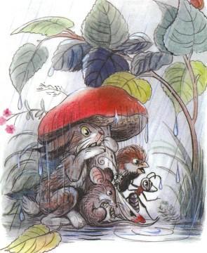 под грибом заяц мышка воробей муравей бабочка