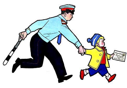 Показательный ребенок ведет милиционера за руку