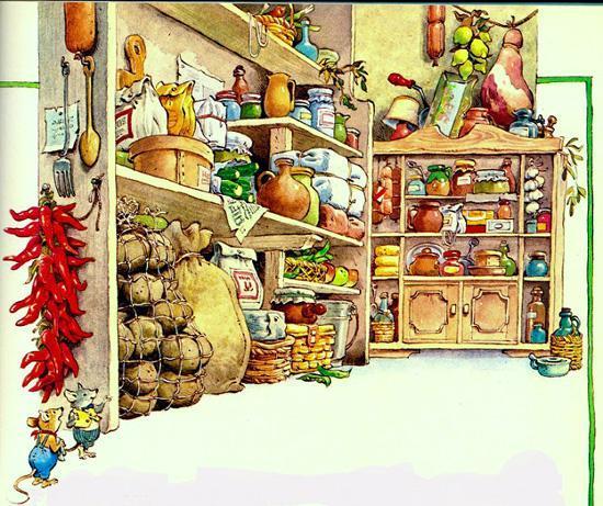 Полевая мышь и городская в кладовой с продуктами
