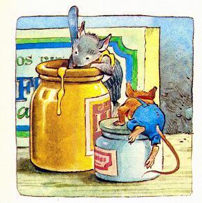 мышонок пробует мед