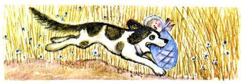 пес Полкан бежит и несет ребенка в пасти в зубах