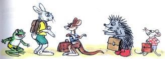 заяц ежик кенгуру лягушонок с портфелями в школу