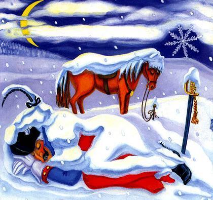 Барон Мюнхгаузен спит в сугробе а Конь рядом