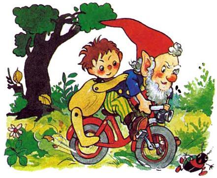 Нодди едет на велосипеде