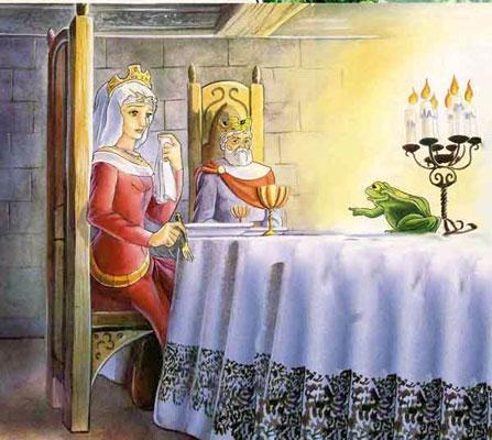 Король принцесса и лягушка за столом