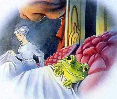 Принцесса и лягушка в постеле