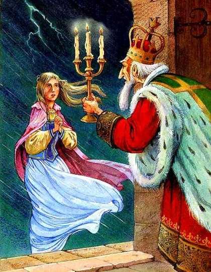 Дверь отворил сам старый Король. На пороге стояла юная девушка, промокшая и дрожащая.