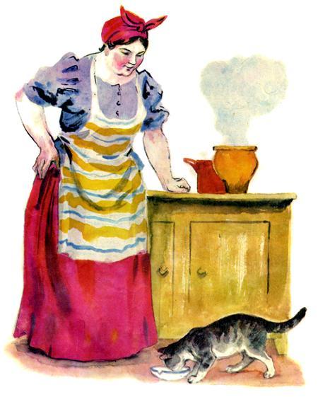 хозяйка и кошка на кухне