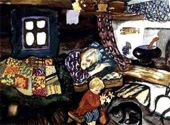в углу на лавке Баба Яга спит, а на прилавке Ивашечка сидит