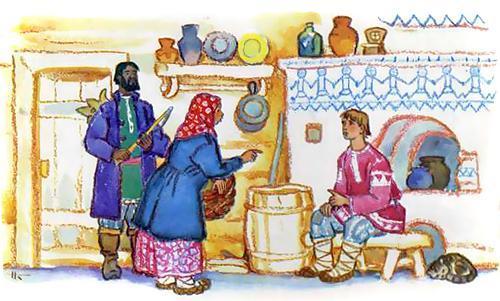 Иванушка-дурачок и его батюшка и матушка у печи