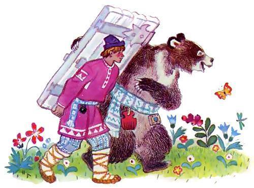 Иванушка-дурачок несет дверь и медведь
