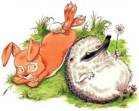 Ёжик и Кролик лежат на лужайке
