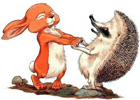 Ёжик и Кролик держатся за лапы