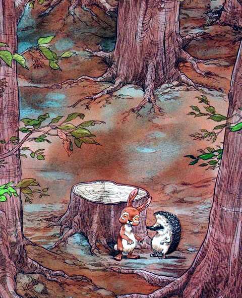 Ёжик и Кролик в дремучем лесу у пня