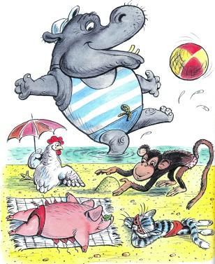 бегемот на пляжу курица обезьяна свинья кот