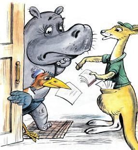 бегемоту пришло письмо кенгуру почтальон