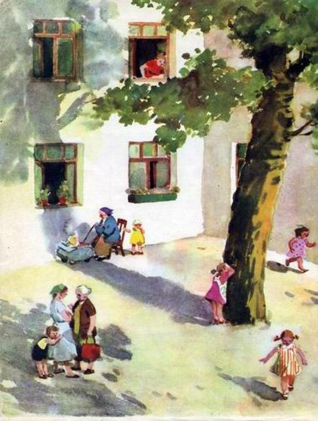 дети играют во дворе мама зовет