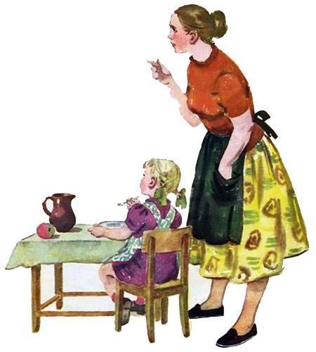 девочка Натка кушает и мама