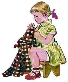 девочка Натка зашивает