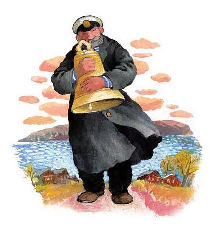 моряк держит колокол Бим