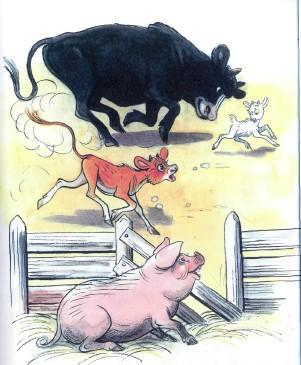 бык и теленок преследуют бегут за козленком свинья в загоне