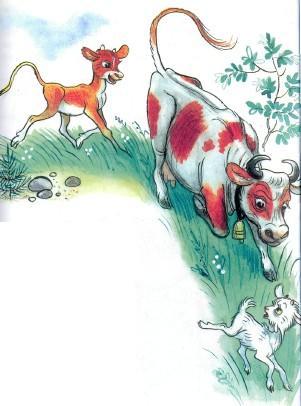 корова и теленок гонятся за козленком