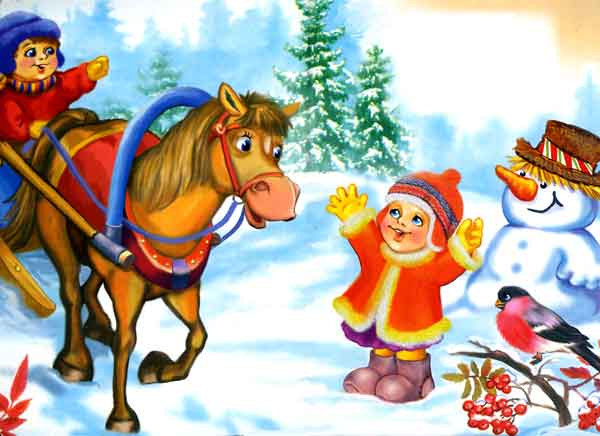 лошадка и повозка в снежном лесу