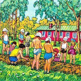 дети в саду ждут всходы на грядке