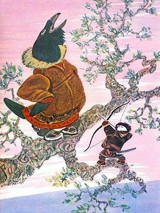 пуночка стреляет из лука в огромного ворона