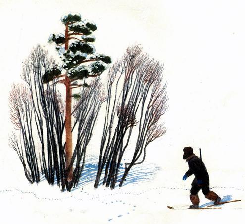 на снегу в лесу на лыжах
