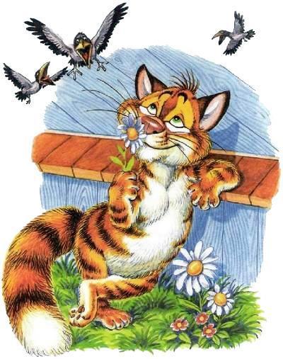 кот Пузик нюхает ромашку