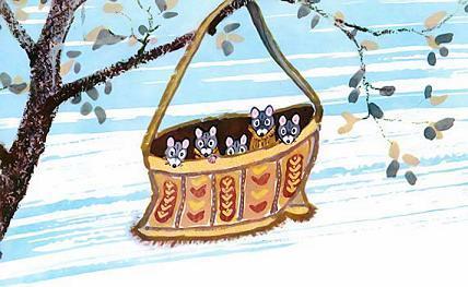 Пятеро мышек висят в сумке на дереве