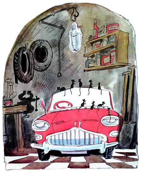 маленький автомобильчик и мыши