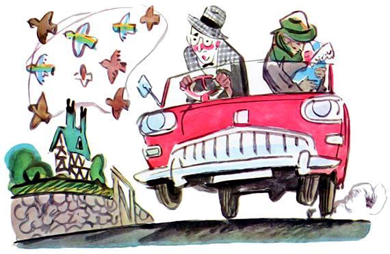 маленький автомобильчик и два пассажира
