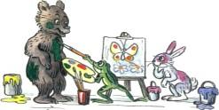 звери медвеженок лягушонок зайченок рисуют красками
