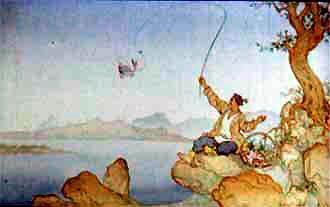 Жил-был рыбак. Однажды пришел он на берег реки, забросил удочку в воду и поймал рыбку