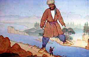 Над рекой — одной ногой на этом берегу, а другой на том — стоял великан.
