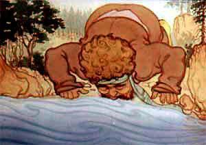 Великан наклонился к реке и стал пить воду.