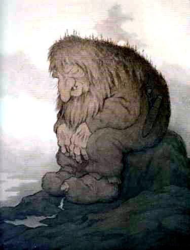 Аскеладд и огромный троль ломает дерево головой