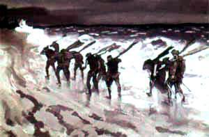 Робин Гуд корабельщики идут вдоль берега с веслами