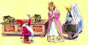 гном пришел за первенцем к королеве