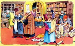 мудрецы ищут имя гнома в книгах