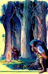 гонец подглядывает за гномом в лесу