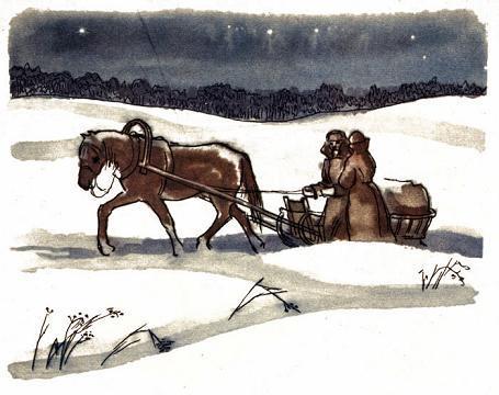 зима лошадь тянет сани